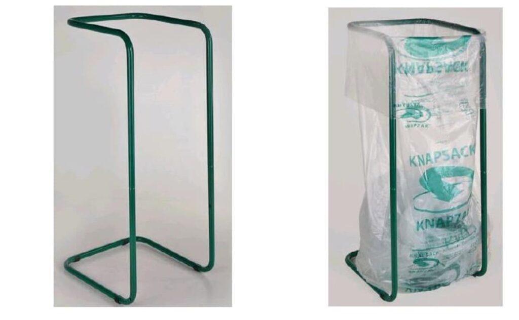 support de saches et sache pour collecte du plastique